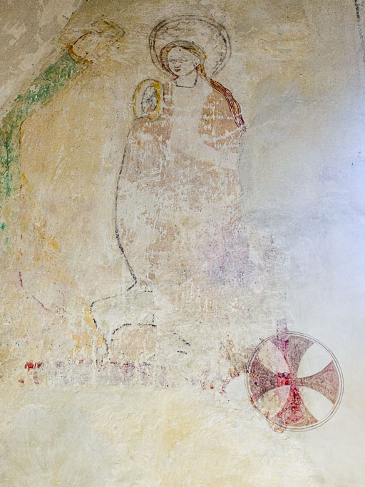 Dorfkirche Bardenitz Heilige Katharina und Weihekreuz an der Südwand des Schiffs