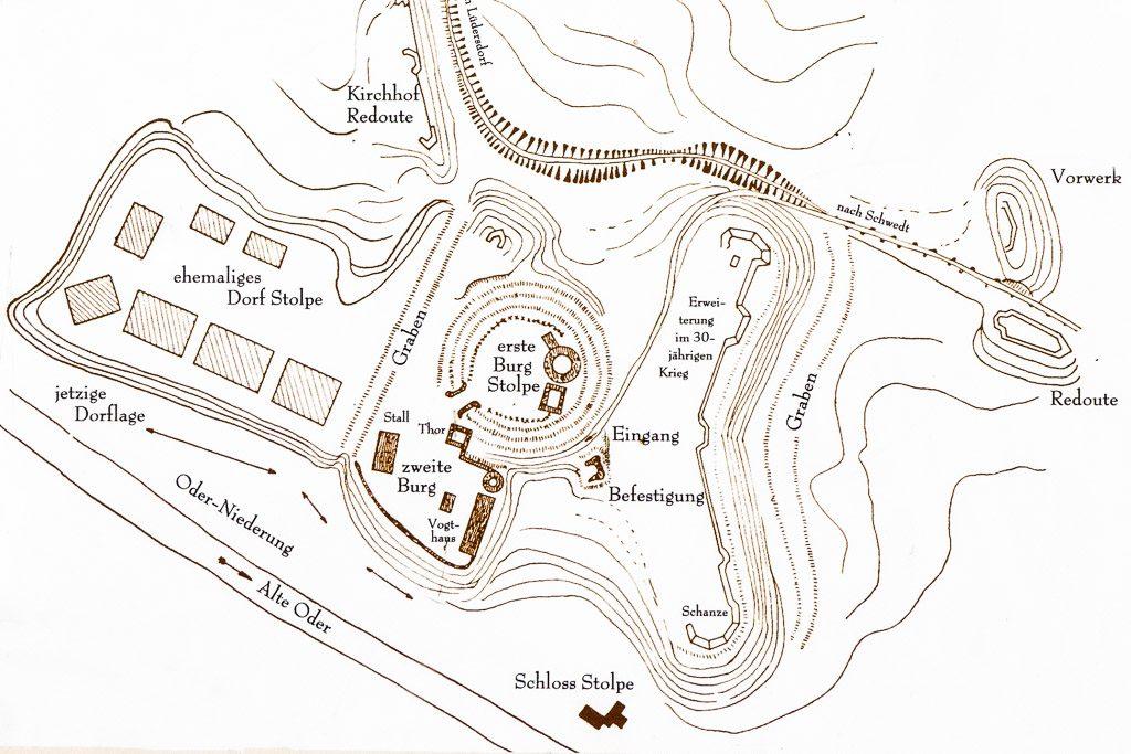 Lageskizze der Stolper Bulrg. Aufgenommen von einer öffentlich zugänglichen Ansichtstafel.