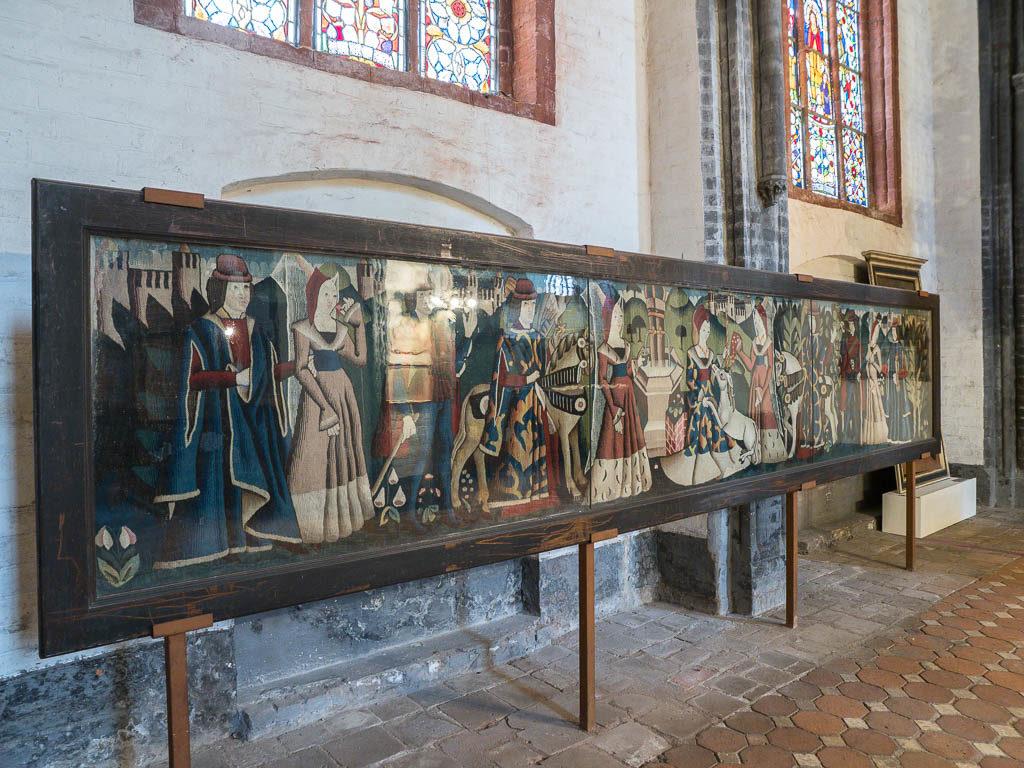 St. Gotthard Teppich mit Darstellung der Jagd auf ein Einhorn. 15. Jahrhundert.