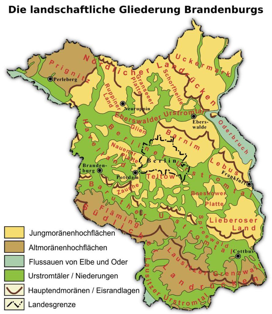 Geologie der Region Berlin - Brandenburg. Landschaftliche Gliederung Brandenburgs