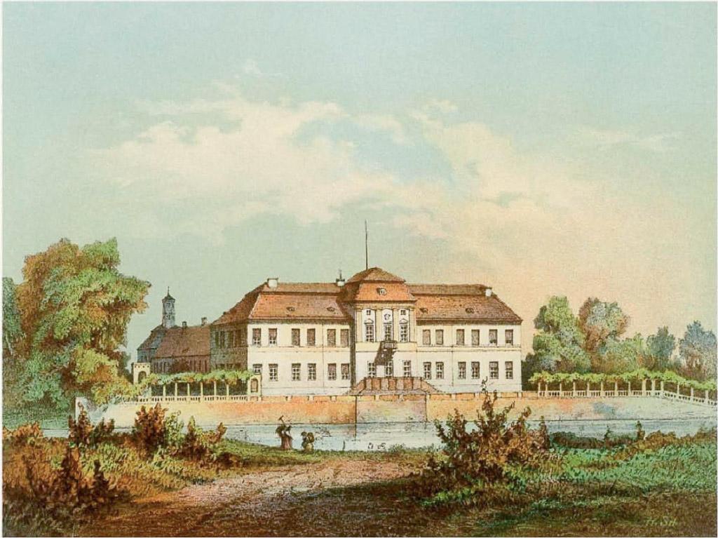 Schloss Plaue um 1860, Ansicht von Osten über die Havel. Sammlung Duncker, gemeinfrei