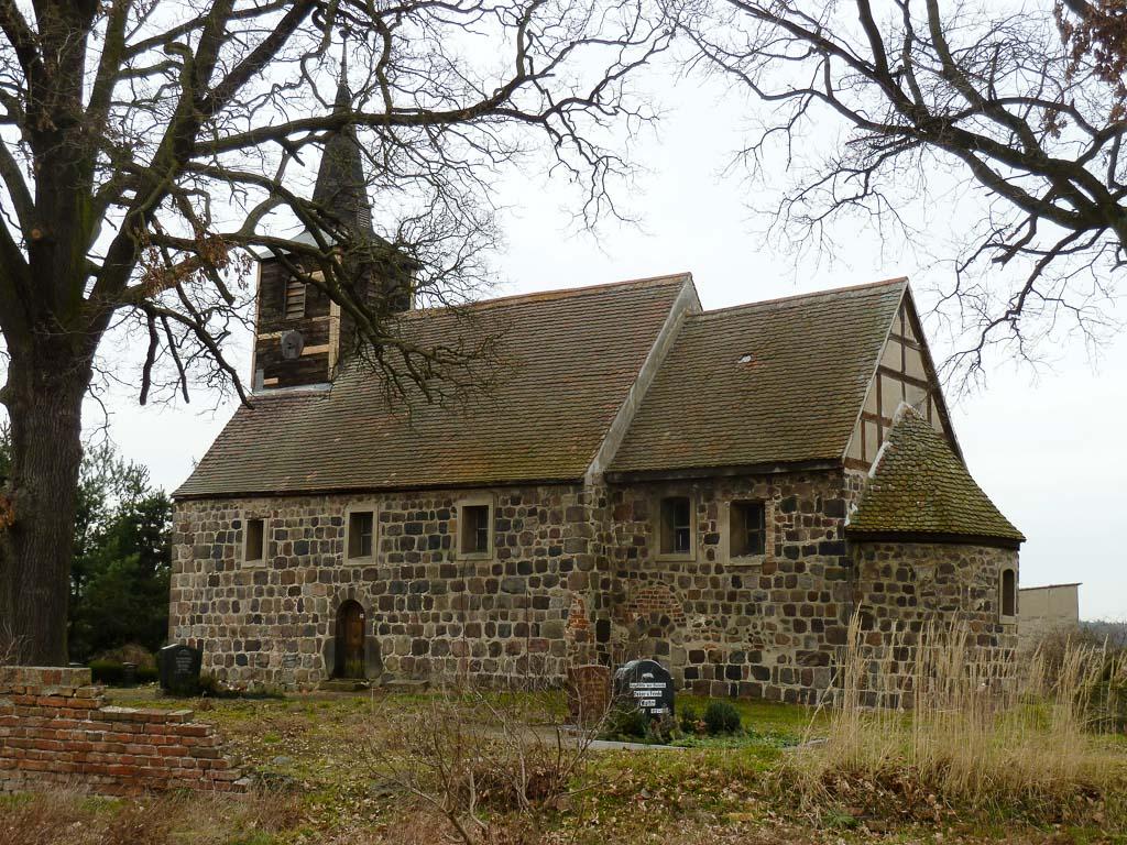 Dorfkirche Gollwitz. Ansicht von Südost.