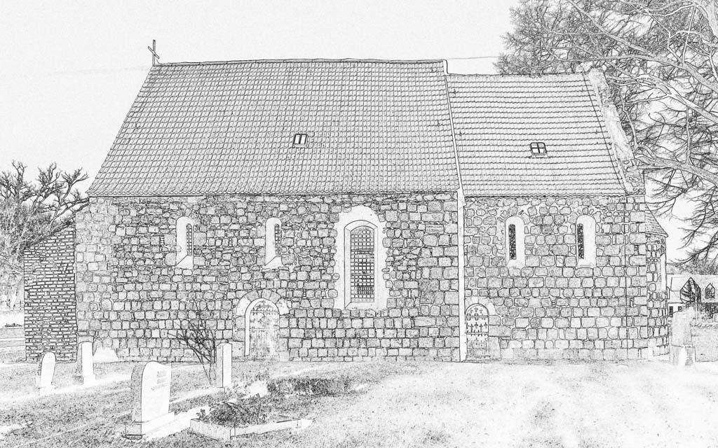 Dorfkirche Preußnitz. Objekt von Süden, die Zeichnung offenbart das akkurate Mauerwerk und die erhaltenen romanischen Stilelemente.