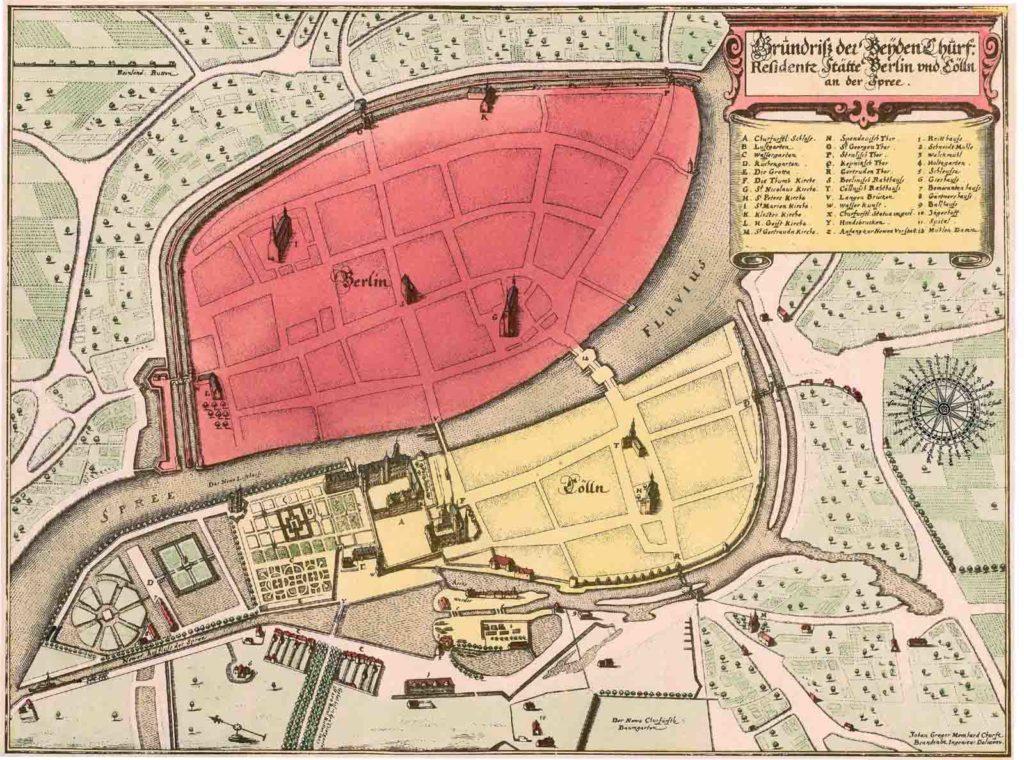 Berlin und Cölln 1652 mit den mittelalterlichen Sakralbauten.