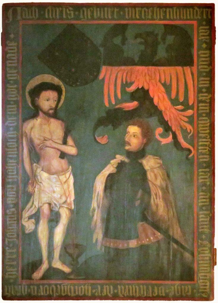 Dorfkirche Buckow. Epitaph Graf Johanns von Hohenlohe.