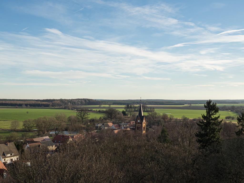Blick vom Bergfried auf die Marienkirche
