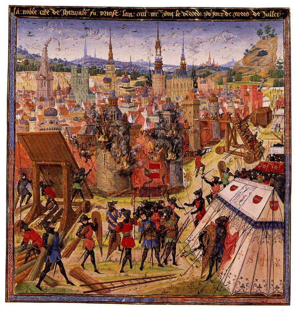 Belagerung Jerusalems. Spätmittelalterliche Buchillustration. Autor unbekannt, gemeinfrei