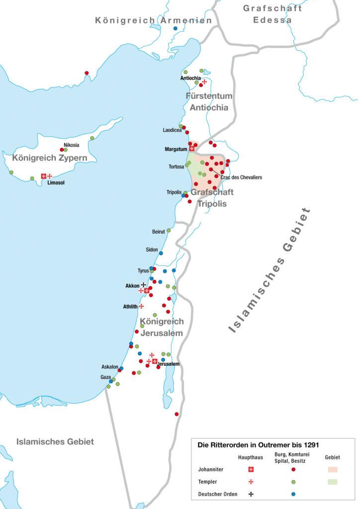 Wirkungsbereiche der Ritterorden in den Kreuzfahrerstaaten (Outremer)
