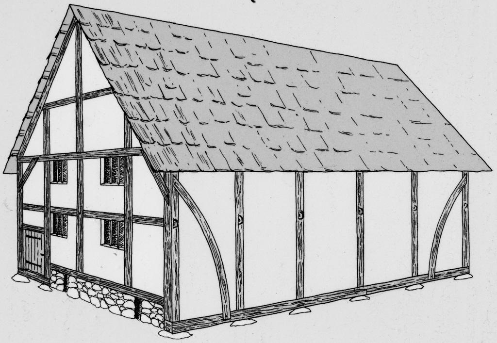Rekonstruktionsversuch eines Hauses mit zwei Stockwerken. Zeichnung Thomas Schenk. Fotografiert von einer öffentlich zugänglichen Schautafel. In Schwarzweiß konvertiert von A. Soujon