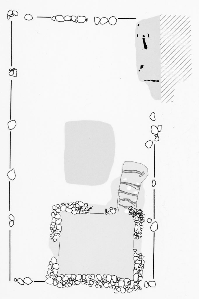 Hausgrundriss. Zeichnung Thomas schenk. Fotografiert von einer öffentlich zugänglichen Schautafel. In Schwarzweiß konvertiert von A. Soujon