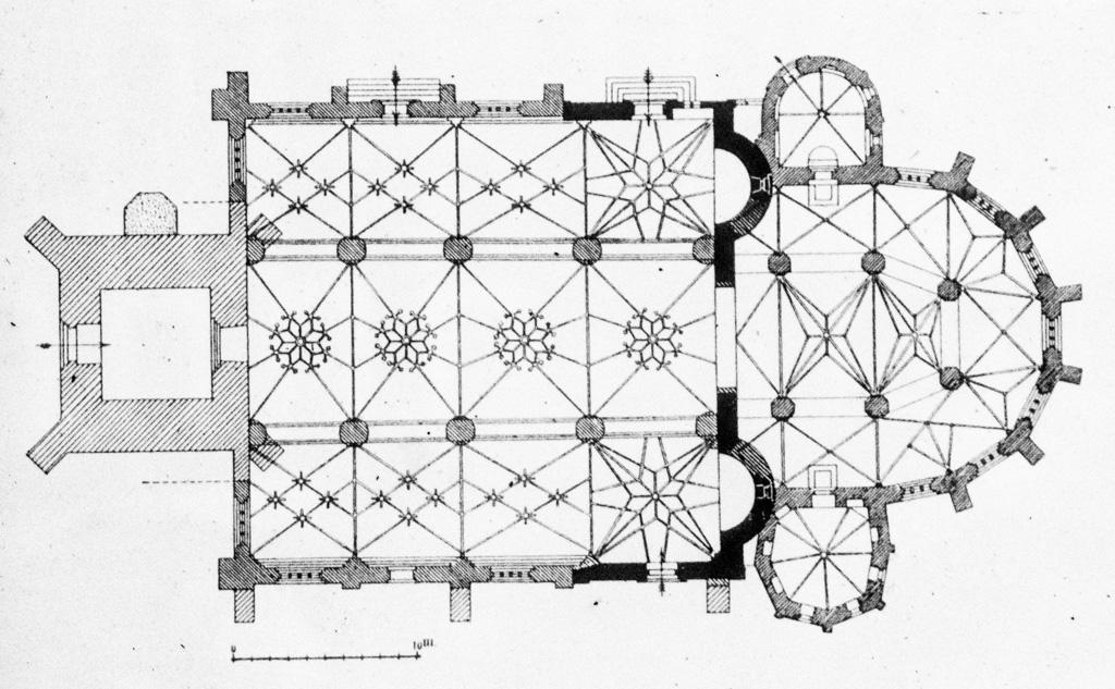 Rathenow Grundriss. Die romanischen Bauteile sind schwarz dargestellt.