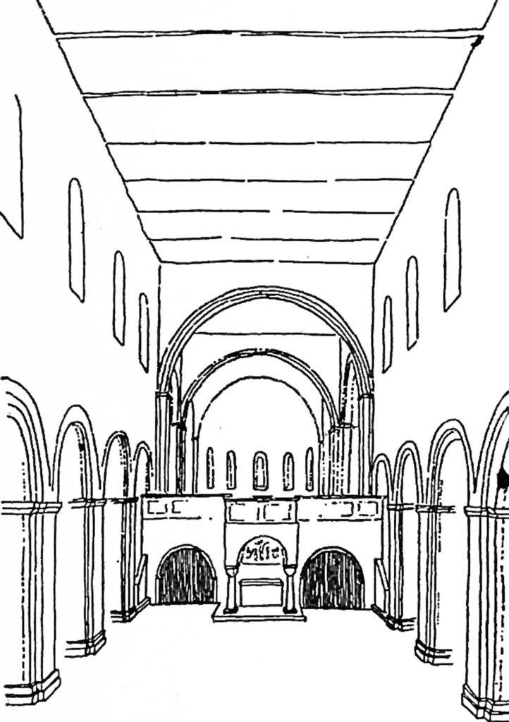 Dom St. Peter und Paul Brandenburg Rekonstruktionszeichnung des romanischen Innenraums. Aus der Festschrift zum 800 jährigen Bestehen des Doms.
