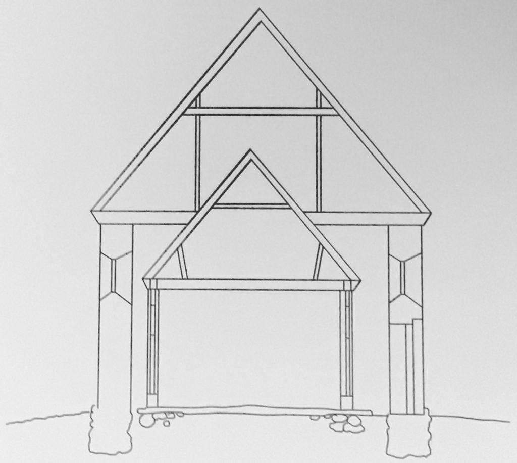 Schnittzeichnung der Kirche