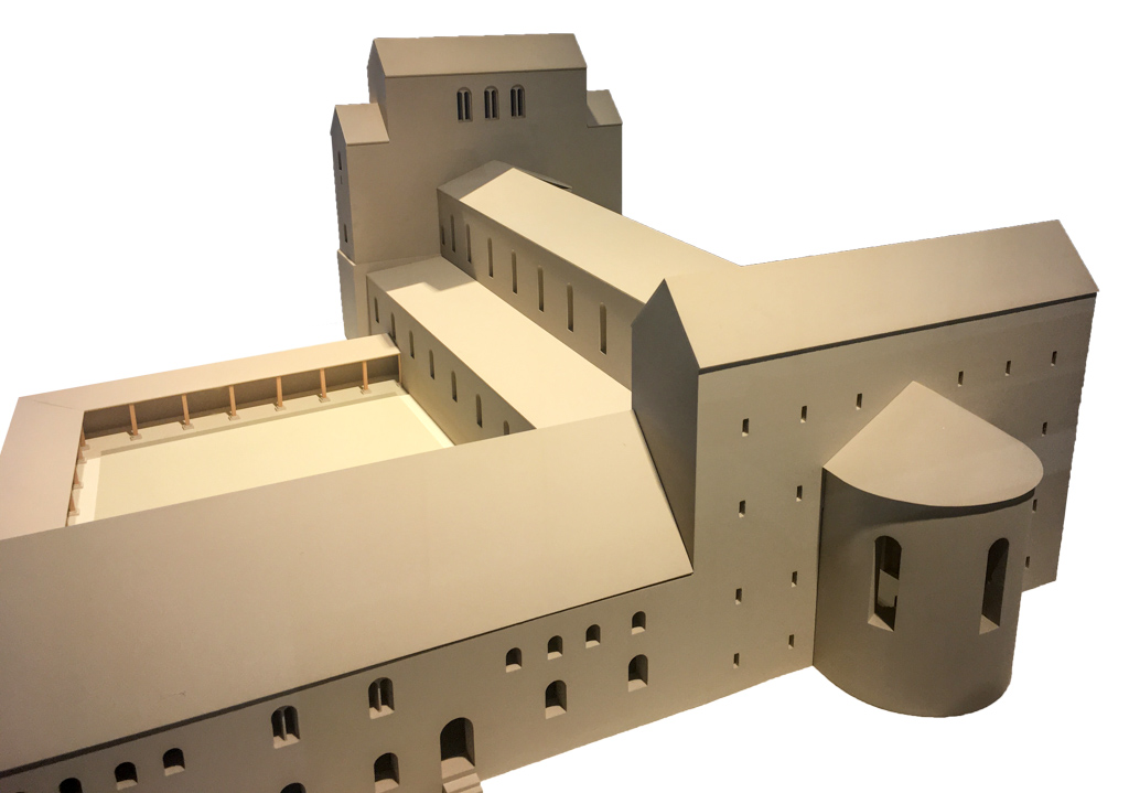 Modell von Dom und Klausur zu romanischer Zeit.
