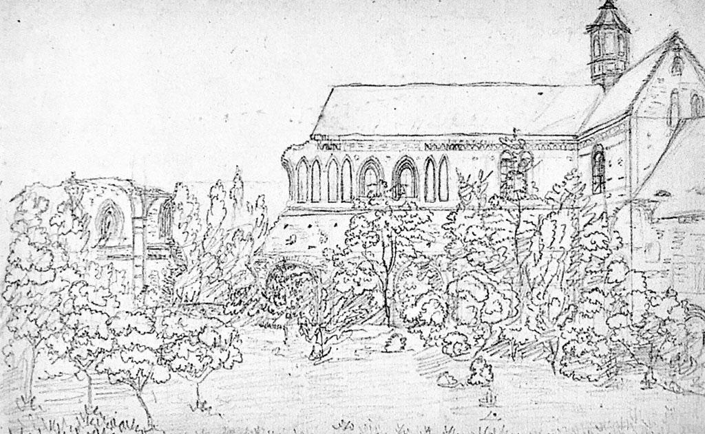 Ruine der Klosterkirche um 1828. Unbekannter Künstler, gemeinfrei
