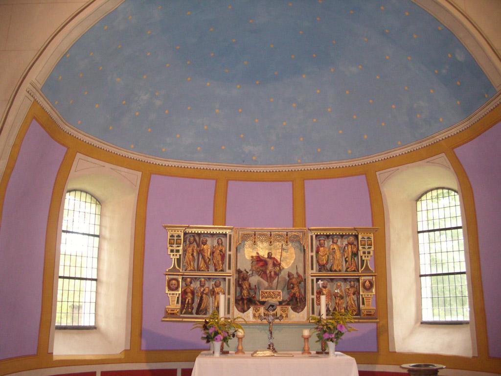 Dorfkirche Sieversdorf Apsis mit Sternhimmel