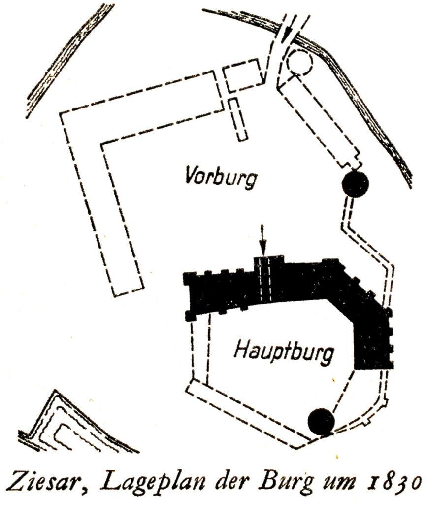 Burg Ziesar, Grundriss nach Georg Dehio, gemeinfrei.