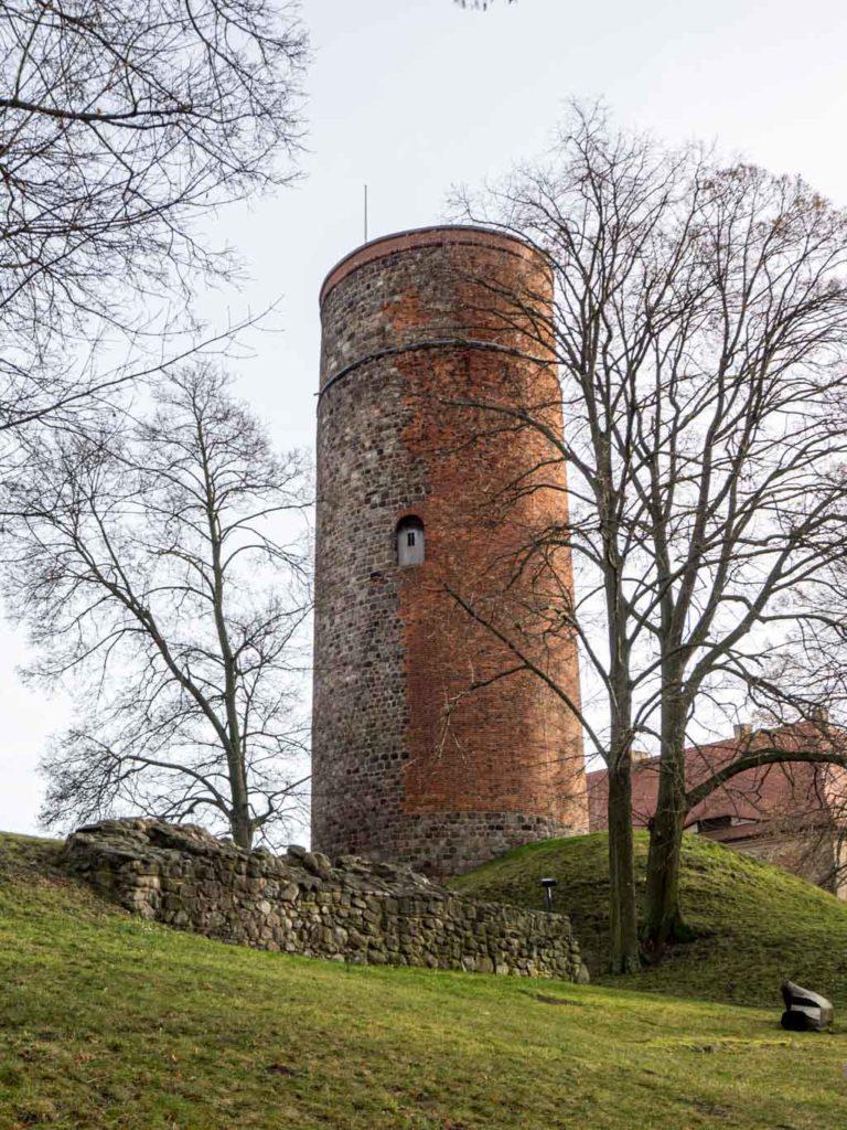 Burg Belzig. Bergfried mit Ausbesserungen in Backstein und Resten der Schildmauer