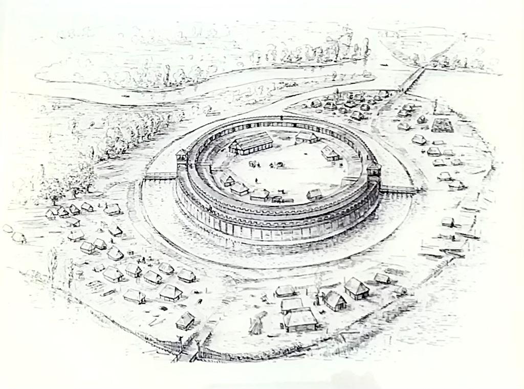 Rekonstrukrion der slawischen Ringburg. Der Innendurchmesser betrug etwa 80m