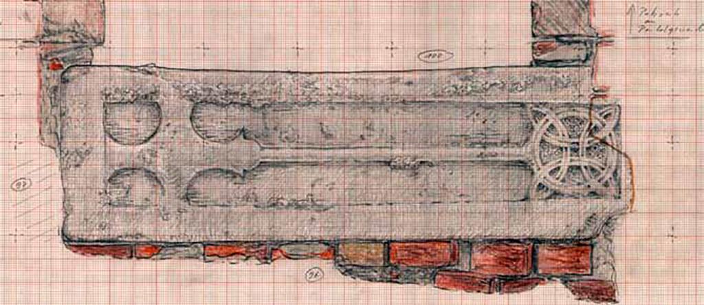 Grabstein des 12. Jahrhunderts in Fundlage.