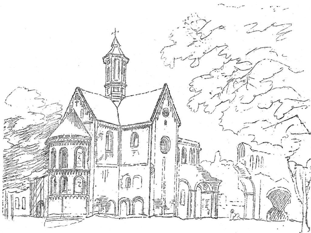 Klosterkirche, Ansicht von Nordost um 1828. Unbekannter Künstler, gemeinfrei.