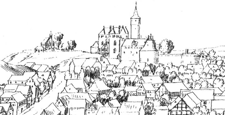Burg Belzig. Federzeichnung von Dilich 1626, Ausschnitt
