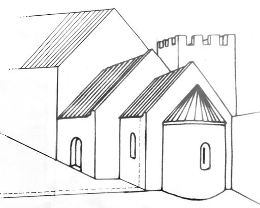 Burg Belzig Rekonstruktionszeichnung der romanischen Kapelle, korrigiert entsprechend des Grundrisses durch J. Werner. Ursprüngliche zeichnung fotografiert von einer öffentlich zugänglichen Schautafel.