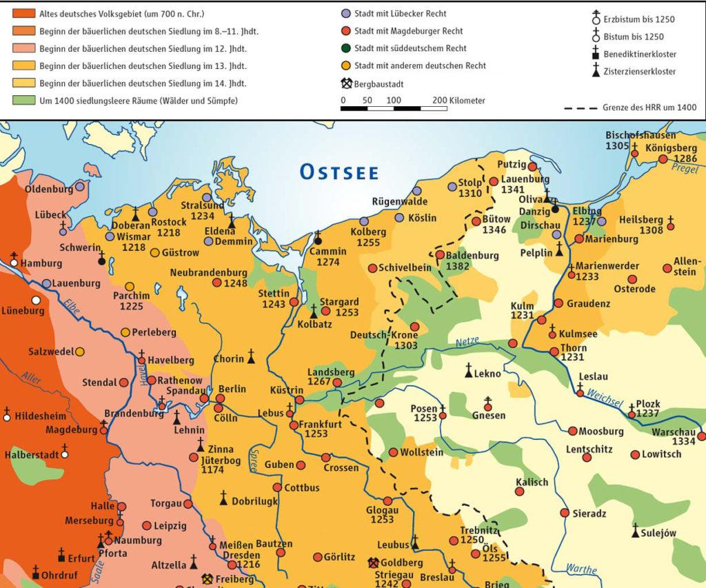 Die deutsche Besiedelung der slawischen Gebiete.