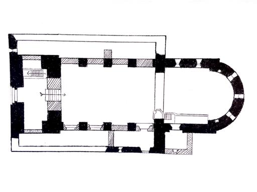 Grundriss Kirche Massen. Romanisch: schwarz, Umbau: schraffiert, Abriss: weiß